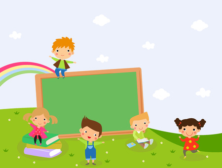Illustration of happy children and blackboard.