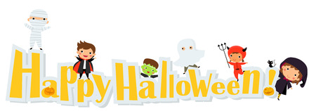 halloween kids: Happy halloween - Cute kids wearing Halloween monster costume Illustration