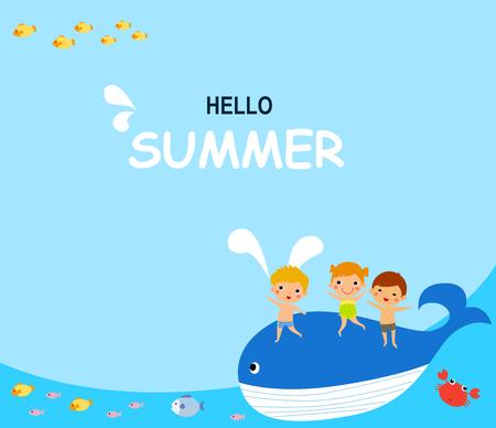 happy little children riding whale Illustration