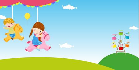 chain swing ride: Children having fun Illustration