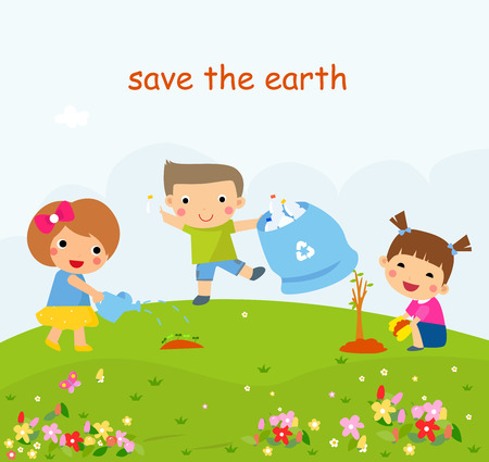 Children Helping In Eco-Friendly Gardening, Planting Trees, Cleaning Up Outdoors Ilustração