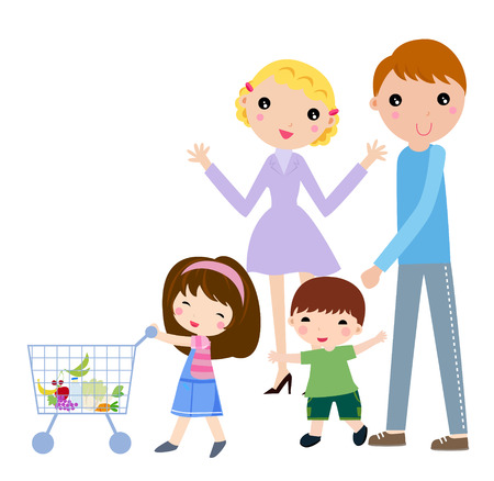 Illustration of a family shopping.