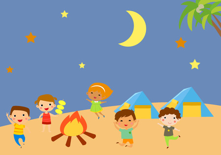 Kindergarten kids camping Illustration
