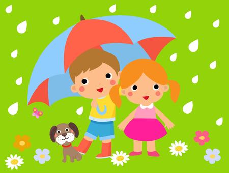 Children and umbrella Ilustração