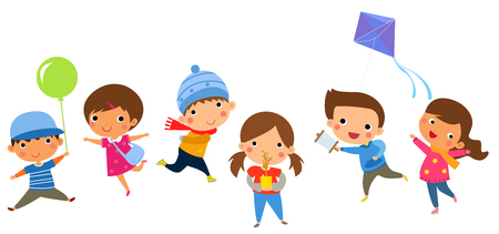 healthy kid: Illustration of group of happy children.