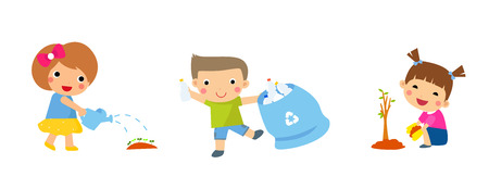 water garden: Save Earth. Children planted young trees. Waste recycling.  Girl watering flowers Illustration