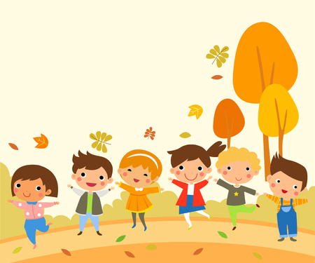 Group of children and autumn leaves