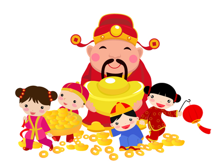 Chinese New Year Design with God of Wealth and children Ilustração