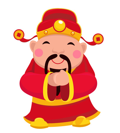 Chingod, wealth, new, year, clothing, popular, greeting, jumping, ethnicity, oriental, chinese, red, vector, culture, symbol, shadow, character, celebration, wish, traditional, blessing, smiling, cute, flat, scroll, illustration, icon, luck, holding, desi