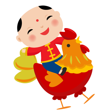 Vector illustration of Cartoon Chinese Kids. Symbol of 2017 red rooster Chinese New Year