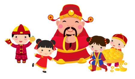 Diseño chino del Año Nuevo con Dios de la abundancia y los niños