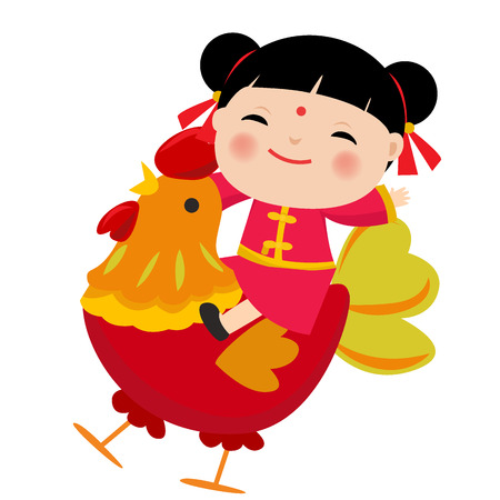 illustration of Cartoon Chinese Kids. Symbol of 2017 red rooster Chinese New Year