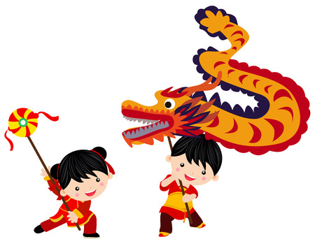 happy new year cartoon: Chinese new year festivalDragon dance