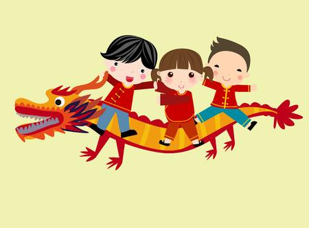 Three happy kids riding on a dragon