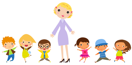 Teacher and students Ilustração