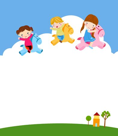 Happy children riding toy horse at outdoors Illustration