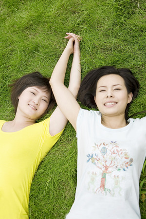 raised viewpoint: Two girls lying on lawn with hand in hand