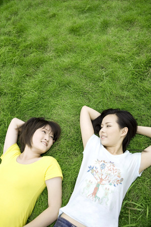 raised viewpoint: Two girls lying on lawn with face to face
