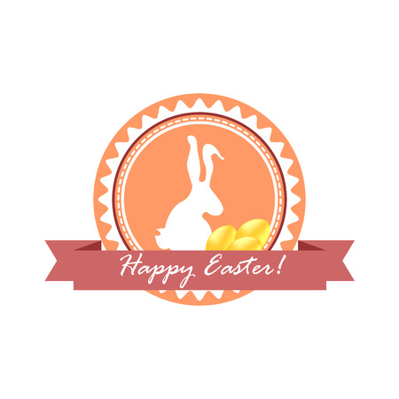 uova d oro: Icona felice Pasqua con un coniglietto carino e uova d'oro