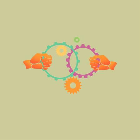 Hands holding gears, teamwork concept