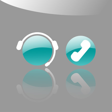 telephone operator: Customer support icons with an operator and a telephone receiver