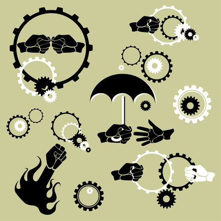 Conceptual set of hands being in action among gears and cogwheels Vector