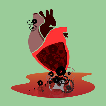Broken heart with cogwheels lying in the pool of blood Vector