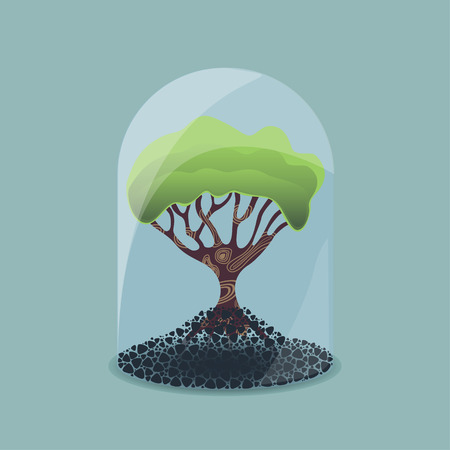 glass dome: Tree under a glass dome, environmental conservation concept Illustration