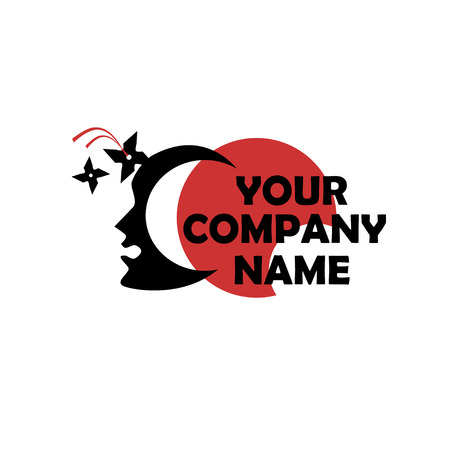 Corporate symbol of a head with a shuriken sinking into its forehead Vector