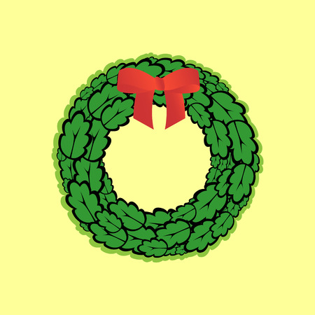 oak wreath: Wreath of oak leaves decorated with a bow Illustration