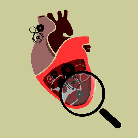 Section of a human heart with cogs and gears under a magnifying glass