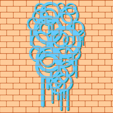 urban style: Smudged graffiti on a brick wall, urban style