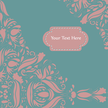 embellished: Romantic greeting card with a text area embellished with floral elements Illustration