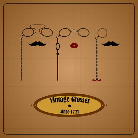 eyewear: Vintage eyewear sign with pince-nez, monocle and lorgnette, moustache and lips