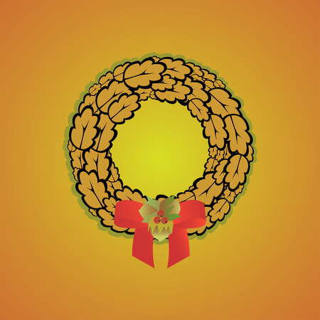 oak wreath: Autumn wreath of oak leaves decorated with hazel nuts, berries and a bow Illustration
