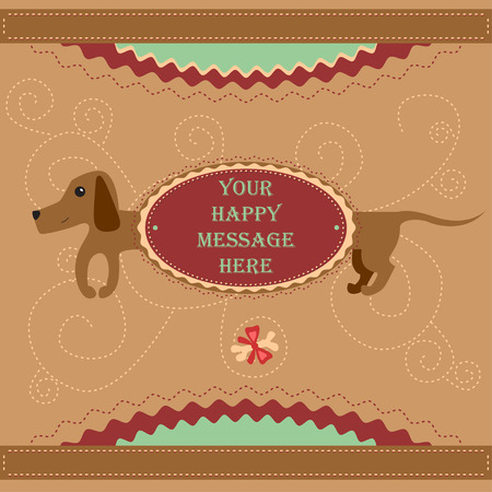badger dog: Lovely badger dog with a framed text area against cute background