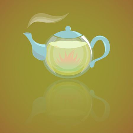 boil: Glass teapot with hot herbal tea