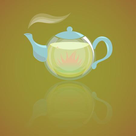 Glass teapot with hot herbal tea