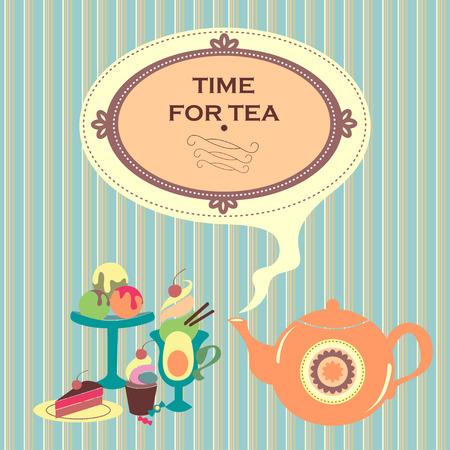 gateau: Carino piccolo teiera con un tempo-per-t� tag e tutta una serie di deliziosi dessert nelle vicinanze
