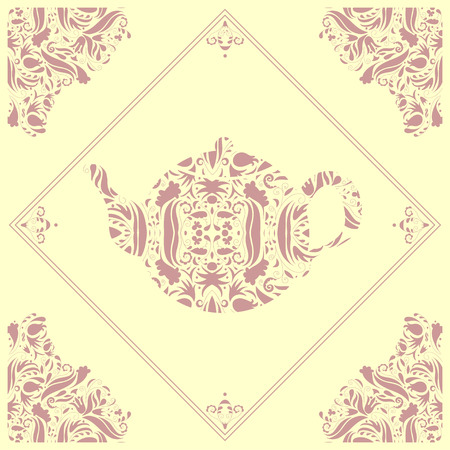 Beautiful ceramic tile with a teapot floral element Vector