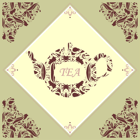 ceramic tile: Retro ceramic tile with a teapot framed with floral pattern