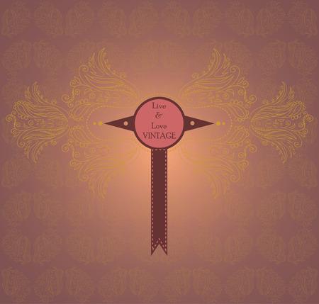 lux: Elegant vintage label against golden background Illustration