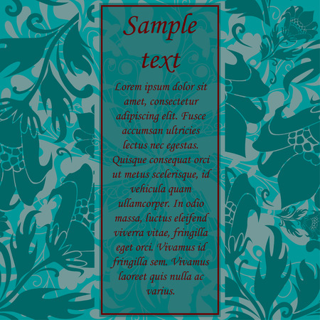 text area: Retro template with flower elements and sample text area Illustration