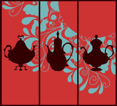 coffeepots: Three card templates with silhouettes of coffeepots and floral motif