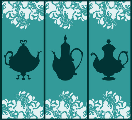 coffeepots: Card templates decorated with silhouettes of coffeepots and floral elements Illustration