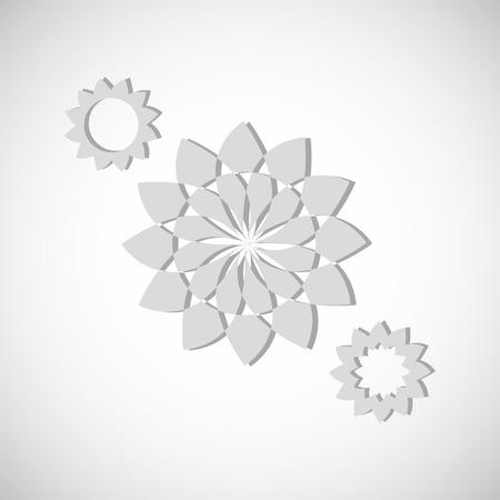 em tons de cinza: Formas de flores em tons de cinza abstrato contra um fundo branco
