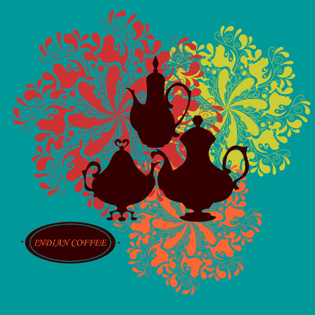 coffeepots: Silhouettes of traditional coffeepots against colorful floral rosettes