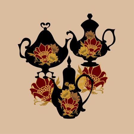 coffeepots: Khokhloma-style flower coffeepots