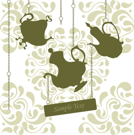 coffeepots: Beautiful vintage ornament with coffeepots hanging on chains