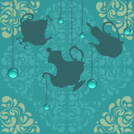 chinaware: Beautiful oriental ornament with coffeepots hanging on chains and glassy decorations Illustration
